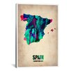 iCanvas 'Spain Watercolor Map' Graphic Art on Canvas from Naxart