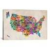 iCanvas 'Typographic Text (States) Map' by Michael Thompsett Graphic Art on Canvas
