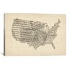 iCanvas 'United States Sheet Music Map' by Michael Tompsett Graphic Art on Canvas