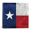 iCanvas Flags Texas Map with Lomo Film Grunge Graphic Art on Canvas