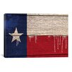 iCanvas Flags Texas Wood Planks with Paint Drips Graphic Art on Canvas