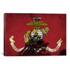iCanvas Flags U.S. Marine Iwo Jimo War Memorial Grunge Graphic Art on Wrapped Canvas