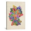 "iCanvas ""Text Map of Germany III"" by Michael Thompsett Textual Art on Canvas"