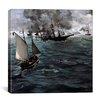 """iCanvas """"The Battle of The USS Kearsarge and CSS Alabama"""" Canvas Wall Art by Edouard Manet"""
