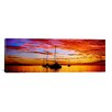 iCanvas Panoramic Silhouette of Sailboats in the Ocean at Sunset, Tahiti, Society Islands, French Polynesia Photographic Print on Wrapped Canvas