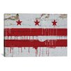 iCanvas Flags Washington, D.C Wood Planks with Paint Drip Graphic Art on Canvas