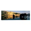 iCanvas Panoramic Silhouette of Two Elephants in a River, Amber Fort, Jaipur, Rajasthan, India Photographic Print on Wrapped Canvas