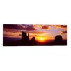 iCanvas Panoramic Silhouette of Buttes at Sunset, Monument Valley, Utah Photographic Print on Canvas