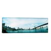 iCanvas Panoramic Two Bridges Across a River, Brooklyn bridge, Manhattan Bridge, East River, Brooklyn, New York City, New York State Photographic Print on Wrapped Canvas