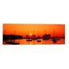 iCanvas Panoramic Silhouette of Boats in a Lake, Lake Michigan, Great Lakes, Michigan Photographic Print on Wrapped Canvas
