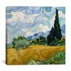 """iCanvas """"Wheatfield with Cypresses"""" by Vincent Van Gogh Painting Print on Wrapped Canvas"""