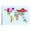 """iCanvas """"Tangram Abstract World Map"""" by Michael Thompsett Graphic Art on Wrapped Canvas"""