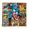 iCanvas Marvel Comics Captain America on Captain America Cover and Panel Graphic Art on Wrapped Canvas