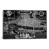 iCanvas Antique Map of London (1572) by Georg Braun Graphic Art on Wrapped Canvas in Black