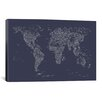 iCanvas Font World Map by Michael Tompsett Graphic Art on Canvas in Navy Blue