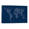 iCanvas Font World Map by Michael Tompsett Graphic Art on Canvas in Blue