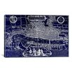iCanvas Antique Map of London (1572) by Georg Braun Graphic Art on Canvas in Negative