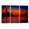 iCanvas Claude Monet Sunset in Venice 3 Piece on Wrapped Canvas Set
