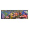iCanvas Claude Monet Water Lilies 3 Piece on Wrapped Canvas Set