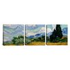 iCanvas Vincent van Gogh Wheatfield with Cypresses 3 Piece on Wrapped Canvas Set