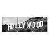 iCanvas Panoramic Photography Hollywood Skyline Cityscape Sign 3 Piece on Wrapped Canvas Set in Black and White