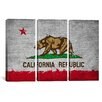 iCanvas California Flag Grunge Painted 3 Piece on Wrapped Canvas Set