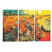 iCanvas Vincent van Gogh The Red Vineyard At Arles 3 Piece on Wrapped Canvas Set