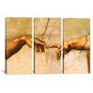 iCanvas Di Lodovico Buonarroti Simoni The Creation of Adam by Michelangelo 3 Piece Painting Print on Wrapped Canvas Set