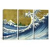 iCanvas A Colored Version of The Big Wave by Katsushika Hokusai 3 Piece Graphic Art on Wrapped Canvas Set