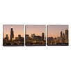iCanvas Panoramic Chicago Skyline Cityscape Dusk 3 Piece Photographic Print on Wrapped Canvas Set