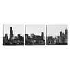 iCanvas Panoramic Photography Chicago Skyline Cityscape Dusk 3 Piece on Wrapped Canvas Set in Black and White