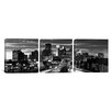 iCanvas Panoramic Minneapolis Skyline Cityscape Evening 3 Piece Photographic Print on Wrapped Canvas Set in Black and White