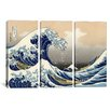 iCanvas Katsushika Hokusai The Great Wave at Kanagawa 3 Piece on Wrapped Canvas Set