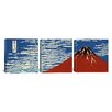 iCanvas Katsushika Hokusai Mount Fuji in Clear Weather 3 Piece on Wrapped Canvas Set in Red