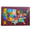 """iCanvas Decorative Art """"License Plate Map USA"""" by David Bowman Graphic Art on Canvas"""