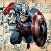 iCanvas Marvel Comics (Avengers) - Captain America Angry on Comic Panels Square Graphic Art on Canvas