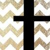 iCanvas T - Bold Gold ChevronTextual Art on Canvas