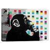 iCanvas The Thinker Monkey Dots Close Up Canvas Art