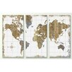 iCanvas 'Gilded Map' by All That Glitters 3 Piece Painting Print on Canvas Set