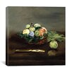 """iCanvas """"Basket of Fruit"""" by Edouard Manet Painting Print on Canvas"""