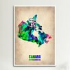 iCanvas Canada Watercolor Map by Naxart Print Graphic Art on Wrapped Canvas
