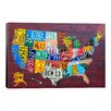 """iCanvas Decorative """"License Plate Map USA"""" by David Bowman Graphic Art on Canvas"""