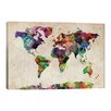 iCanvas 'World Map Urban Watercolor'by Michael Tompsett Painting Print on Wrapped Canvas