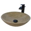 Novatto Travertine Stone Vessel with Drain and Faucet