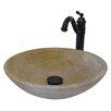 Novatto Travertine Stone Vessel with Drain and Faucet
