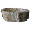 Novatto Fossil Wood Vessel Bathroom Sink and Umbrella Drain