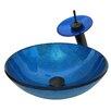 Novatto Verdazzurro Glass Vessel Bathroom Sink Set