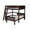 Camaflexi Full Over Twin L-Shape Loft Bed with Mission Headboard