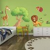 The Binary Box 2 Piece Children's Jungle Animals Scene Wall Sticker Set