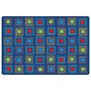 Kids Value Rugs Blue Primary Squares Seating Area Rug